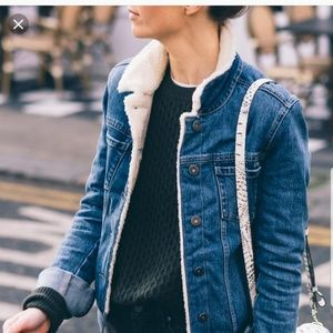 Paige jean and faux sheerling jacket